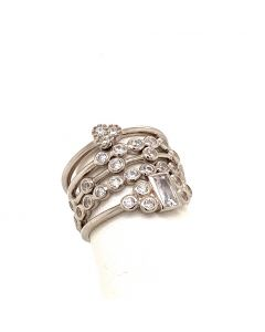 SS SW CZ 5-PC Stackable Rings