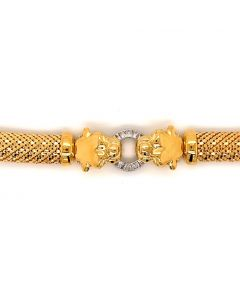 18KT Yellow Plated Bronze Dbl Panther Bracelet