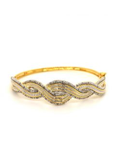 18KT Yellow Plated Bronze Weave Bangle with Diamonds