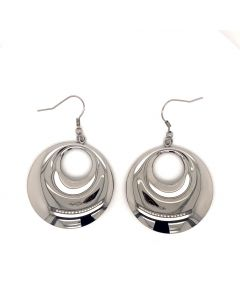 Stainless Steel Circle in a Circle Drop wire Earrings