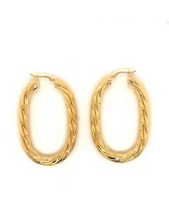14KT Plated Bronze Large Twisted Oval Hoops