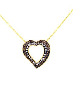 18Kt Plated Brown/White Swarovski Heart Pendant on Cable Chain