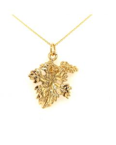 18Kt Plated Grape/Leaf Pendant with Cable Necklace