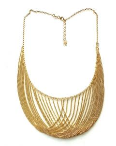 18Kt Plated Bib Necklace with Rolo/Curb Link