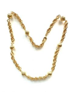 18Kt Plated Rope Necklace with Diamond Cut Balls