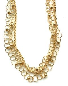 18Kt Plated Triple Strand Necklace