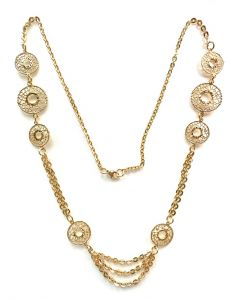 18Kt Plated Fligree Circle Necklace with Flat Oval Rolo Chain
