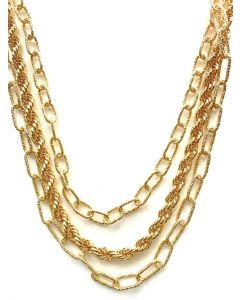18Ky Plated Triple Chain Necklace/7mm Rope/20mm Oval Links