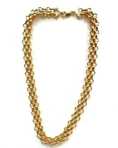 18Kt Plated Triple Row Large Oval Necklace