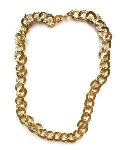 18Kt Plated Textured Curb Link Necklace