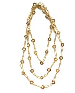 18Kt Plated Long Cable Necklace with Round Flat Links