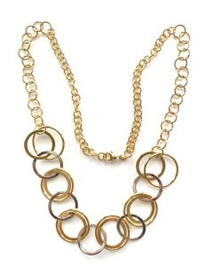 18Kt Plated Whit/Yellow Round Link Necklace