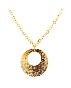 18Kt Flat Circle Textured Pendant with Flat Round Link Necklace