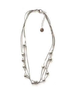 Rhodium Plated 4 Strand Snake Chain Necklace with High Polished and Satin Finished 6mm Balls