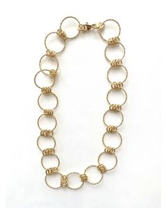 18Kt Plated Circle & Small Hoop Necklace