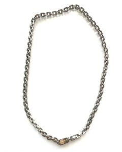 StainlessSteel/18Kt Accent Square Rolo Chain