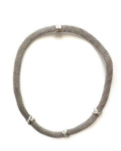 14Kt Plated Mesh Necklace with Triple CZ Hug Accent