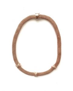14Kt Pink Plated Mesh Necklace with Triple CZ Hug Accent