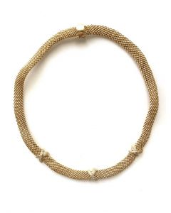 Rhodium Plated Mesh Necklace with Triple CZ Hug Accent