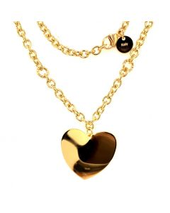 18Kt Plated High Polished Heart Pendant on Rolo Chain