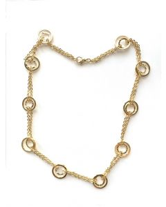 18Kt Plated Double Circle Accent Necklace on Flat Link Rolo Chain