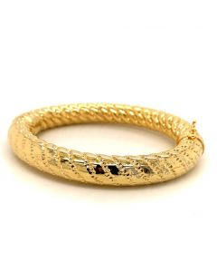 18KT Yellow Plated Bronze Textured Bangle