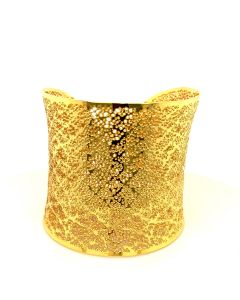 18KT Yellow Plated Bronze Hammered Cuff