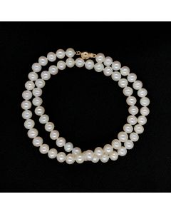 14KY 6-7MM WHITE CLASIC ROUND FWCP BEAD LOCK