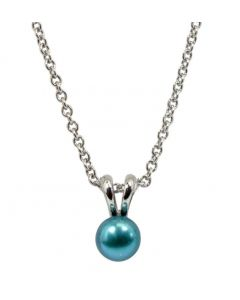 """SS Honora Teal 6mm Prl 14"""" Pend"""