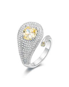 SS Canary Cushion CZ Open Ring