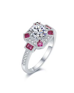 SS White Center w/ Red CZ Accent Ring